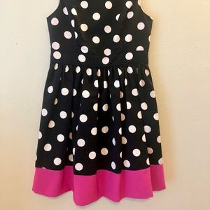 Black & White Polka Dot Dress with Hot Pink Accent